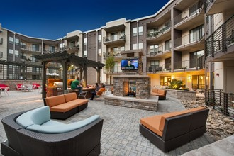 Exterior of 400 Rhett with a fireplace and seating area